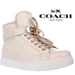 Coach Richmond Shearling High Top Wedge Sneaker
